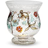 Mark My Words 6-Inch Tall Hurricane Crackled Glass Candle Holder, Home Sentiment