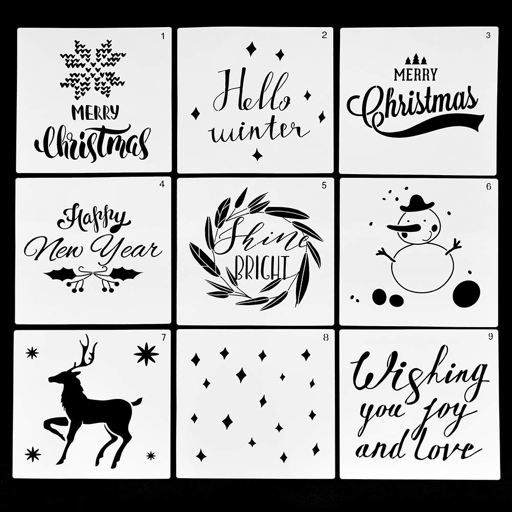 Fy Christmas Stencils Merry Christmas Christmas Tree Snowflakes For Card Diy Drawing Painting Templates 2