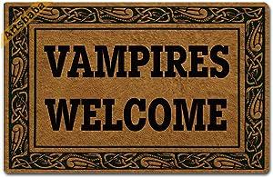 Artsbaba Halloween Doormat Vampires Welcome Door Mat Rubber Non-Slip Entrance Rug Floor Mat Balcony Mat Funny Home Decor Indoor Mat 23.6 x 15.7 Inches, 0.18 Inch Thickness