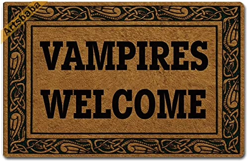 Artsbaba Halloween Doormat Vampires Welcome Door Mat Rubber Non-Slip Entrance Rug Floor Mat Balcony Mat Funny Home Decor Indoor Mat 23.6 x 15.7 Inches, 0.18 Inch Thickness