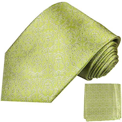 Cravate homme vert ensemble de cravate 2 Pièces ( 100% Soie Cravate + Mouchoir )