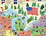 Illustrated map of the US for kids (Laminated Children's Wall Map of the US for Kids) [Map])