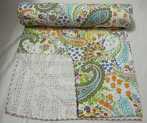 Paisley Design Indian Hand Made Bedding Twin Size Kantha Quilt , Cotton Bed Cover