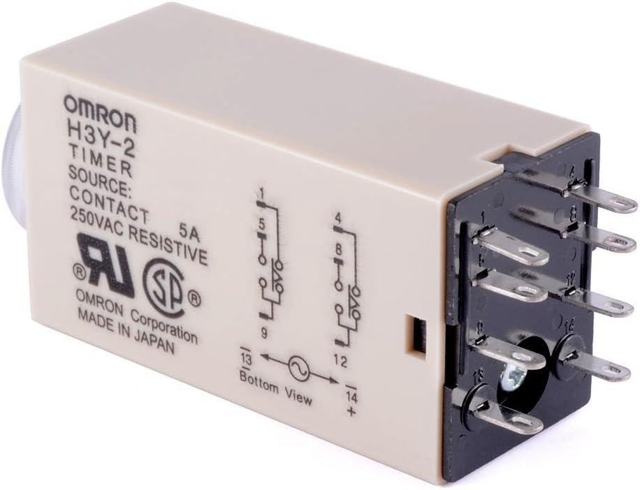 Woljay Relais temporis/é Relais temporis/é /à l/état solide 0-30 Minutes H3Y-2 DC 24V DPDT avec Socket Base