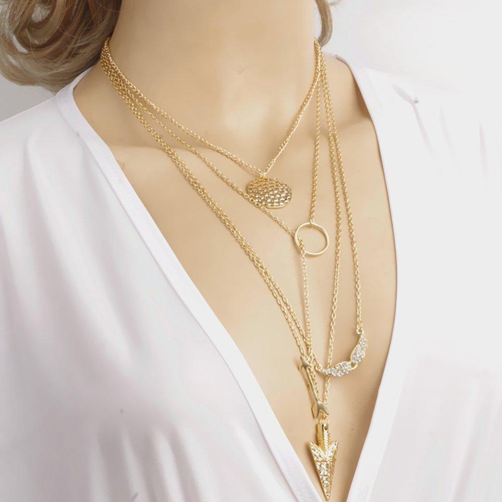 Amazon.com: Women\'s Simple Gold Ring Circle Bar Pendant Shiny ...