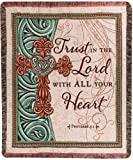 Manual Inspirational Collection 50 x 60-Inch Tapestry Throw with Verse, Trust in the Lord,
