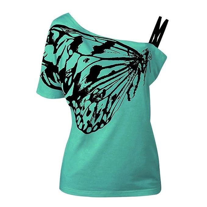 6f9ad691c396 TUDUZ Große Größen Oberteil Damen Schmetterling Druck Trägerlosen Kurzarm  Tops Cami Bluse Shirt (S,