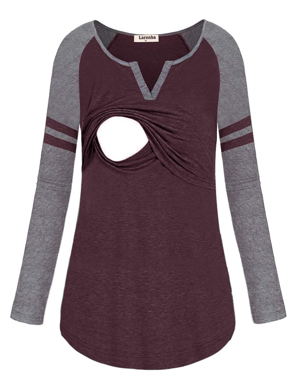 Larenba Plus Size Motherhood Nursing Tops Blouses, Womens Long Sleeve Baseball Style Maternity Breastfeeding Shirts Work(Wine Red,XX-Large)