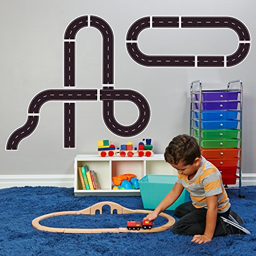 Racecar Racing Childrens Birthday Peel and Place Track - Giant Wall or Floorl Decal (Cars Giant Wall Sticker)