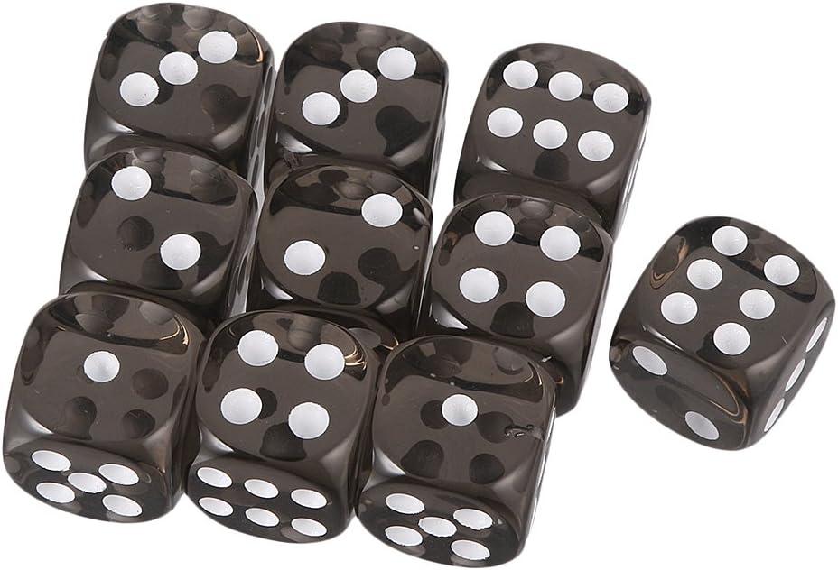 Gazechimp Juguetes de Mesa Conjunto de 10 Piezas de Dados Acrílico Seis Caras para TRPG D & D - Negro