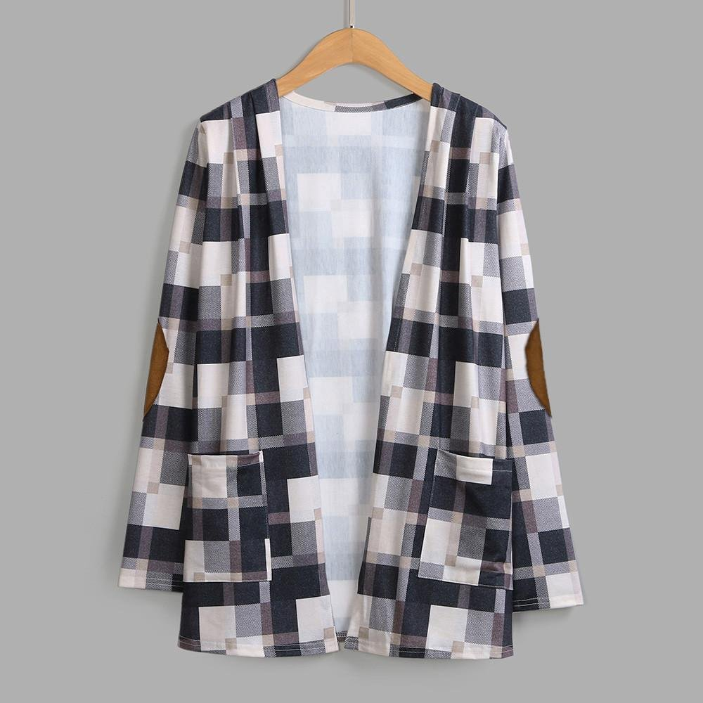 Pervobs Blouses, Big Promotion! Women Ladies Casual Plaid Long Sleeve Loose Shirts Cover Ups Cardigan Jacket Coat Outwear (XL, Khaki) by Pervobs Women Long-Sleeve Shirts (Image #4)