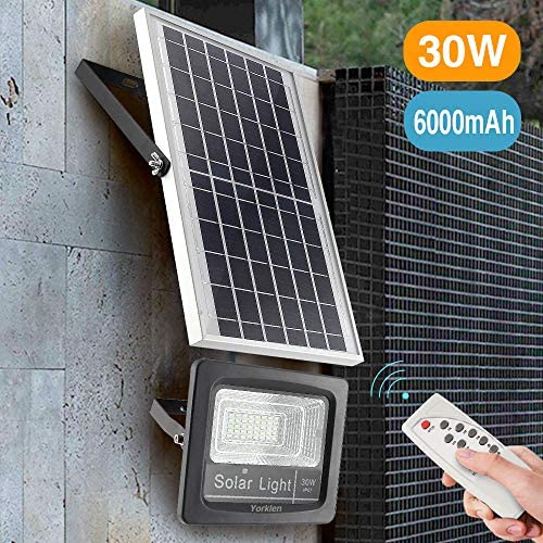 Yorklen 30W LED Solar Flood Lights Outdoor, Dusk to Dawn Solar Powered Street Light with Remote Control, 800 Lumen, IP67 Waterproof, for Yard, Garden, Garage, Pathway, Barn, Street Cool White