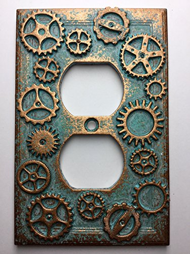 Gears (Steampunk) Outlet Cover - Aged Patina or Stone colored (Patina)
