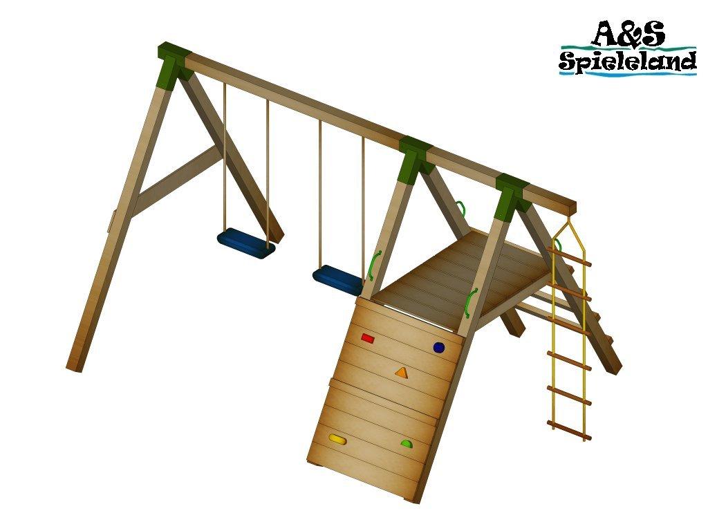 Spielturm JUNIOR 2.0 120cm Set 2 Schaukel Kletterturm Pfosten 9x9cm