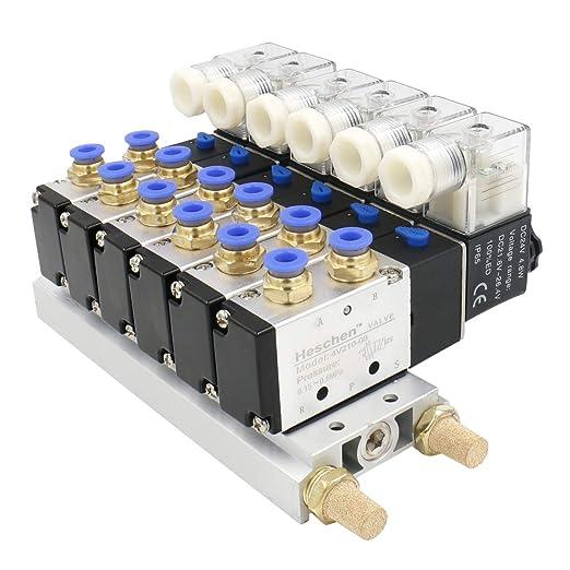 4 Válvula De Solenoide neumáticas 4V210-08 DC 24V G 1//4 5 w Base silenciador manera 2 posición