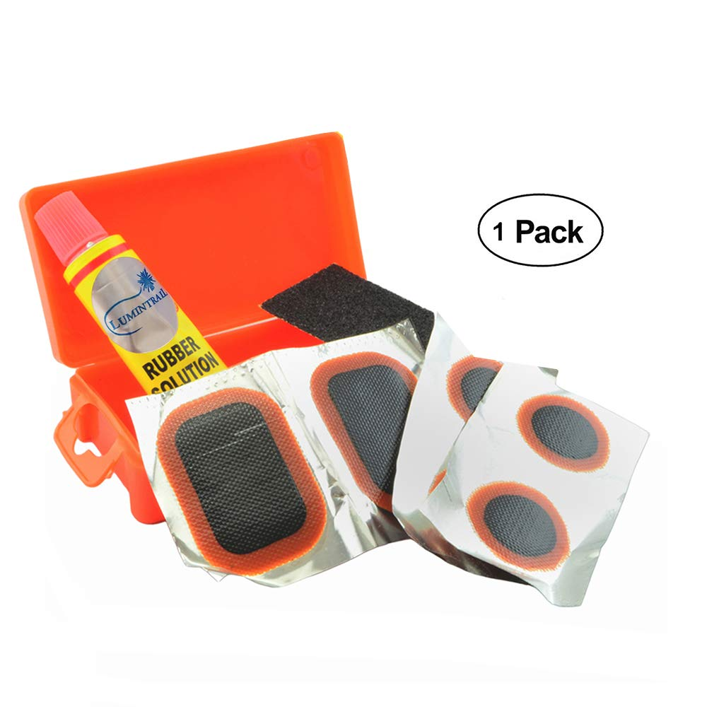 Lumintrail Bicycle Bike Tire Tube Repair Kit - 6 Rubber Patches + Sandpaper + Rubber Patch Cement, in Compact Portable Case (1 or Multiple Pack) (1 Pack)