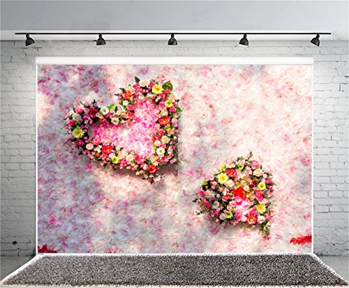 AOFOTO 8x6ft Valentine's Day Photography Background Sweet Love Heart Wreath Backdrop Romantic Flower Petal Baby Lover Girlfriend Bride Artistic Portrait Spring Photo Studio Props Video Drape (Country Prom Theme)