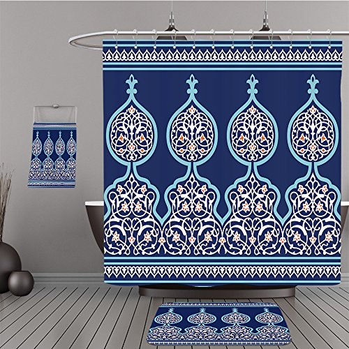 Uhoo Bathroom Suits & Shower Curtains Floor Mats And Bath Towels 445437898 Arabic Floral Seamless Border. Traditional Islamic Design. Mosque decoration element. For Bathroom by UHOO