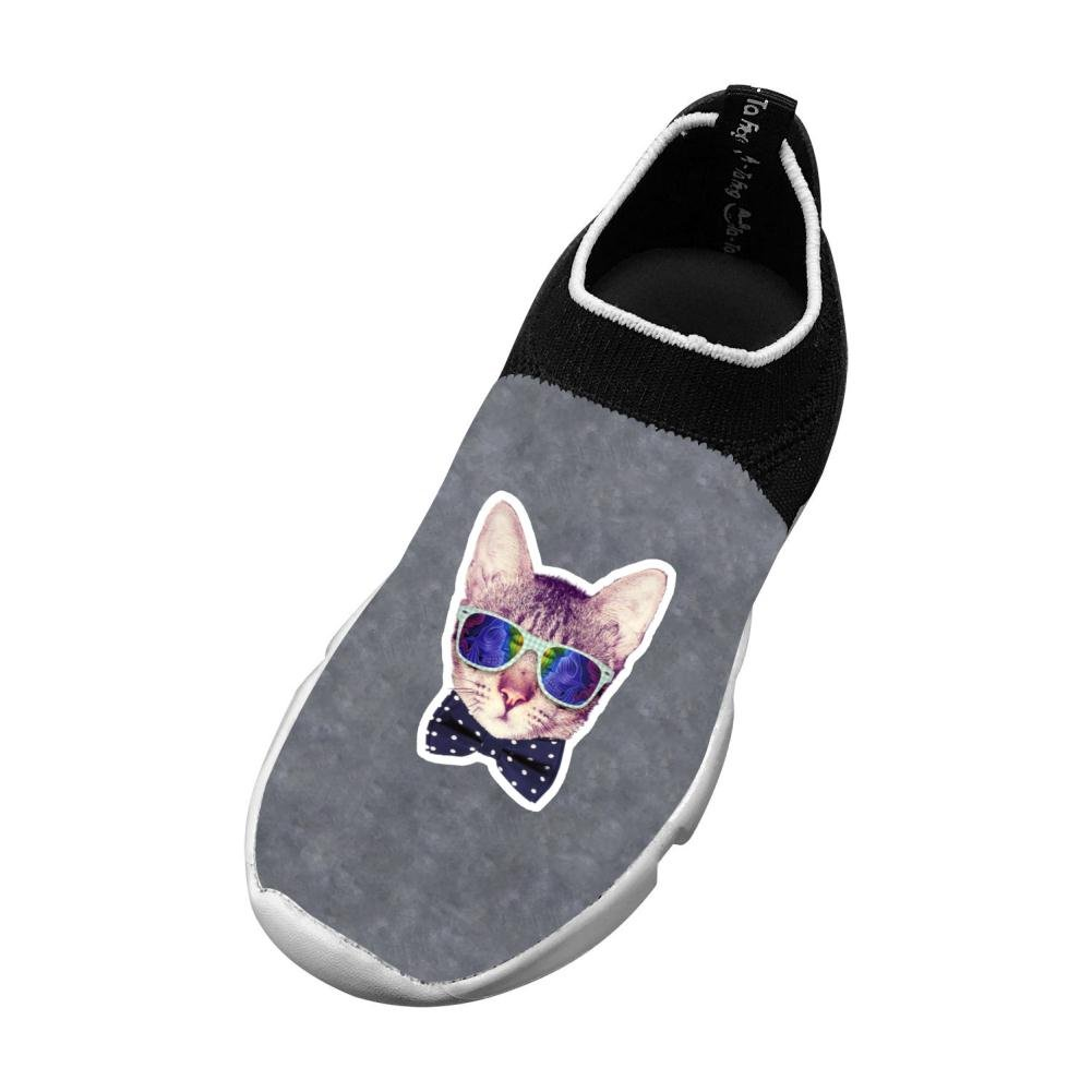 Sports Flywire Knitting Sneaker For Boy Girl,Print Cat Sunglass 13 B(M) Us Big Kid