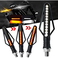 Arrow Motorcycle Turn Signal Indicator Lights Amber Flowing,White DRL Daytime Running Lights for Yamaha Suzuki Kawasaki…