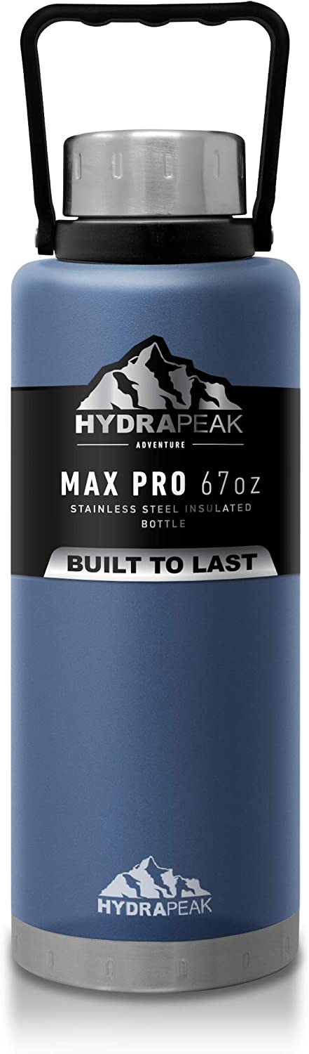 Hydrapeak Water Bottle, Double Wall Stainless-Steel Vacuum Insulated Thermos Canteen, Wide Mouth Flask BPA-Free Leak-Proof Growler with Handle Lid (Storm, 67oz)