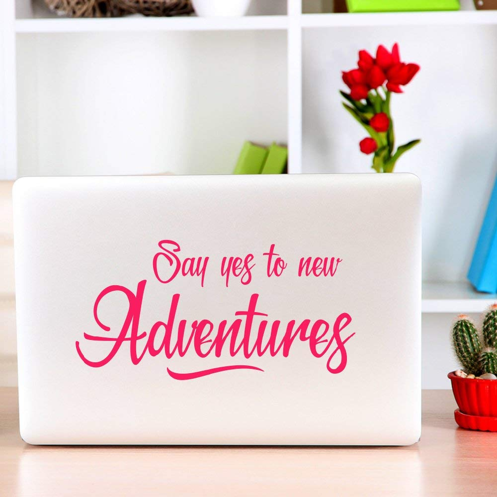 Littledollz Say yes to New Adventures Laptop Decal Laptop Stickers Laptop Sticker Travel Decals Wanderlust Stickers 21 Inch Tall