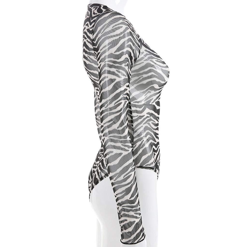 ZYUEER Damen Hosen Fr/ühling Yogahosen Jeans L/ässige Haremshosen Rundhalsausschnitt Langen /ÄRmeln Zebramuster Schlanker L/äSsiger Overall Mesh Perspektive Stretch Hosen Sporthosen Skinny
