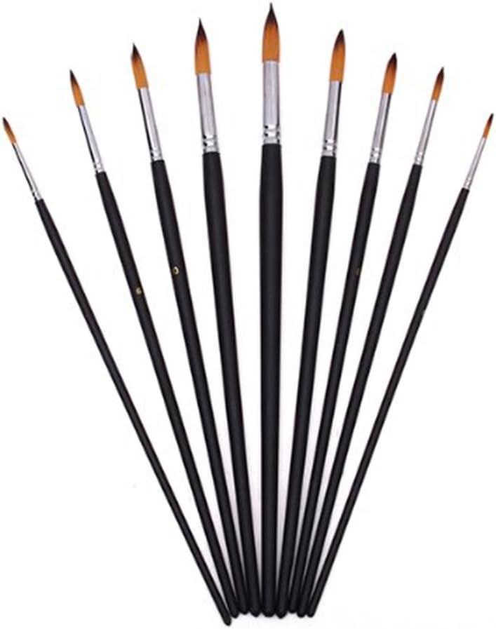 negro NUOLUX Set de pinceles de punta redonda de artista de madera 9 piezas para pintura acr/ílica de pintura al /óleo