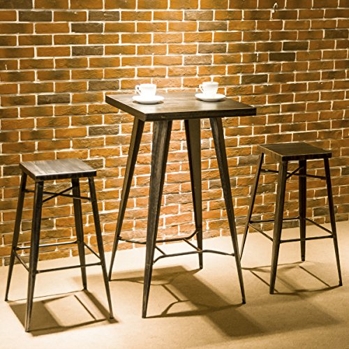 Harper&Bright Designs 3-Piece Pub Dining Table Set Metal Indoor-Outdoor Bar Table Set with 2 Stools (Black&Gold) by Harper&Bright Designs