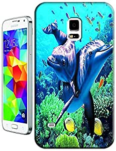 Couple Dolphin Swimming under the sea cell phone cases for Samsung Galaxy S5 i9600