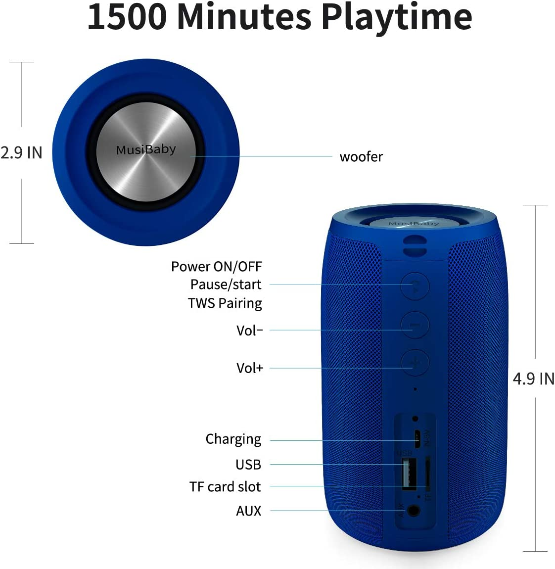 Blue Bluetooth Speaker,MusiBaby Speaker,Outdoor Portable,Waterproof,Wireless Speakers,Dual Pairing Bluetooth 5.0,Loud Stereo,Booming Bass,1500 Mins Playtime for Home,Party,Camping