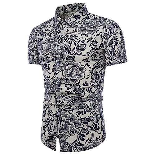 OUBAO T Shirt for Men Short Sleeves Button Down Hawaiian Work Wear Tanks Slim Tops Bottom Blouse Slim Plus Size (Medium, White)