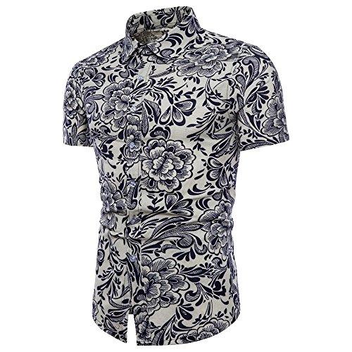 Toimothcn Men Summer Floral Print T-Shirt Short Sleeve Big&Tall Cotton Linen Shirts Tee (White,XL)