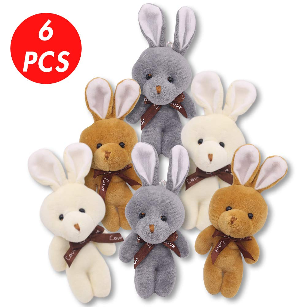3 otters 6Pcs Mini Rabbit Stuffed Animal Plush Toys