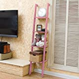Four Shelves Racks Shelves Floor Shelves, Pink (L34 W31 H160CM), Bearing 5kg