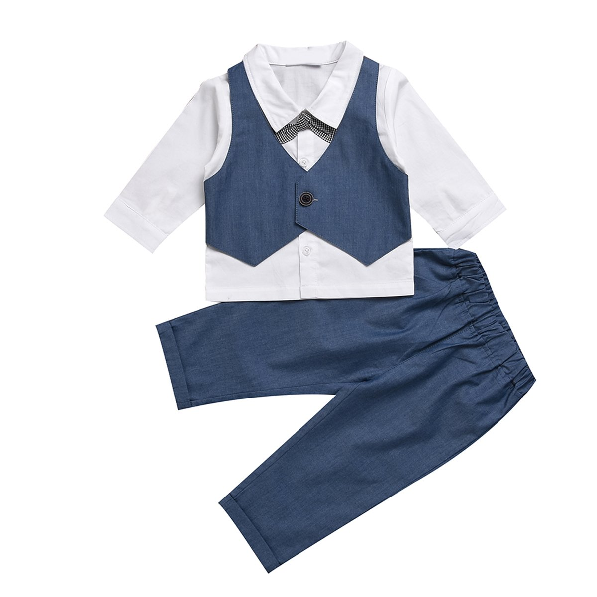 Puseky Baby Boys Gentleman Suit Bow Tie Shirt + Pants Formal Outfit Clothes Set (6-12 Months, White+Blue)