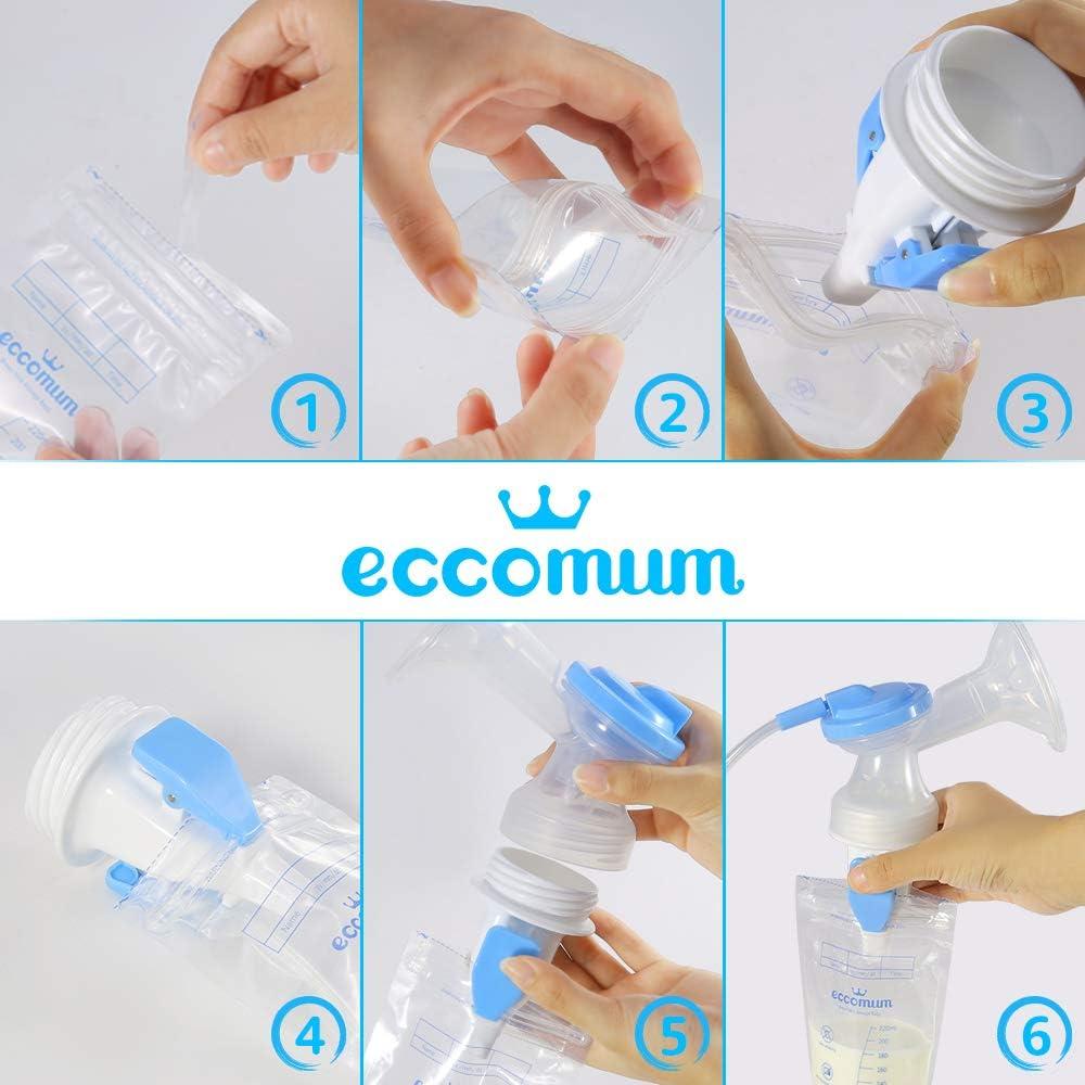 Eccomum Sacaleches Doble Port/átil//Silencioso//Recargable normal BPA-Free//100/% Grado de Comida Sacaleches El/éctrico Pantalla T/áctil LCD Inteligente//Bolsas de Leche//Adaptadores