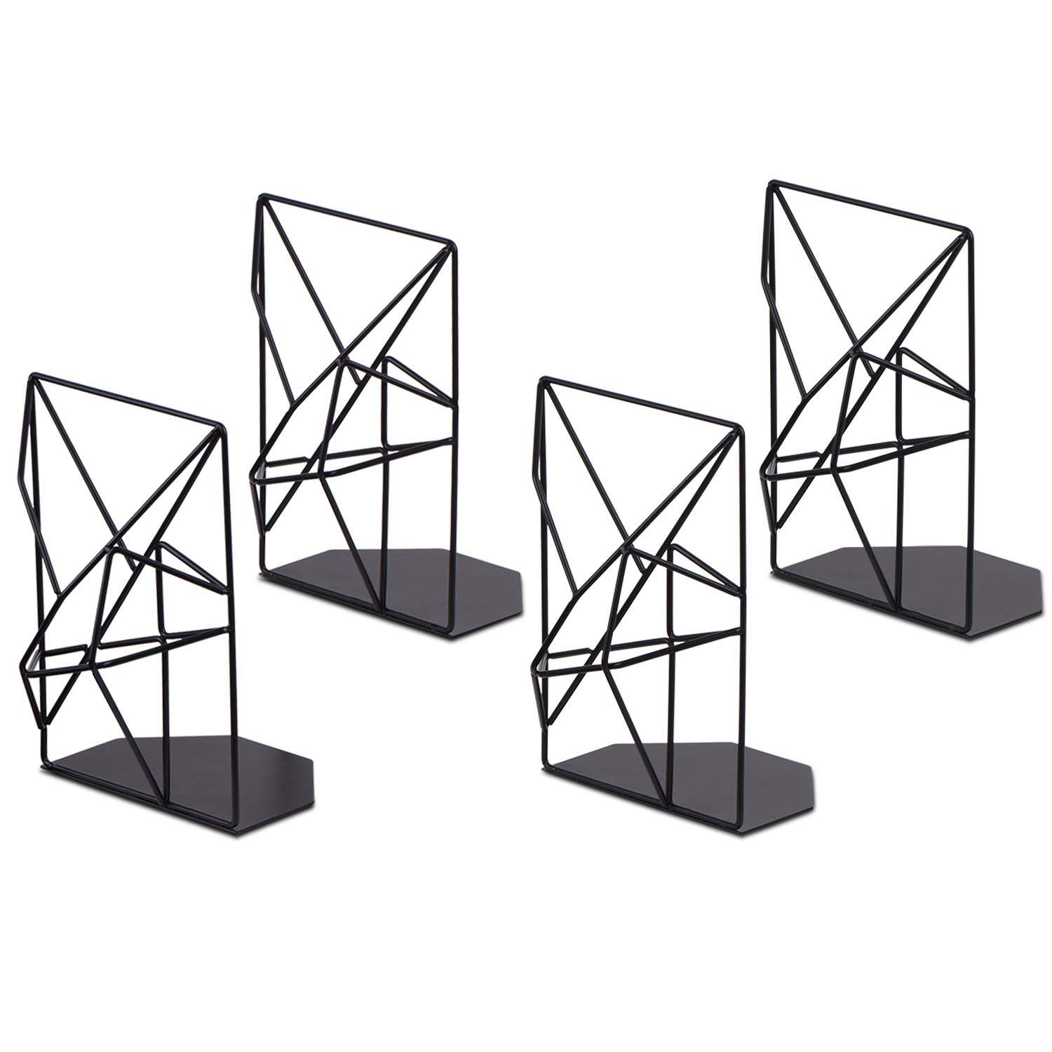 SRIWATANA Book Ends Black, Decorative Metal Bookends for Shelves, Unique Geometric Design, Non-Scratching(2 Pairs)