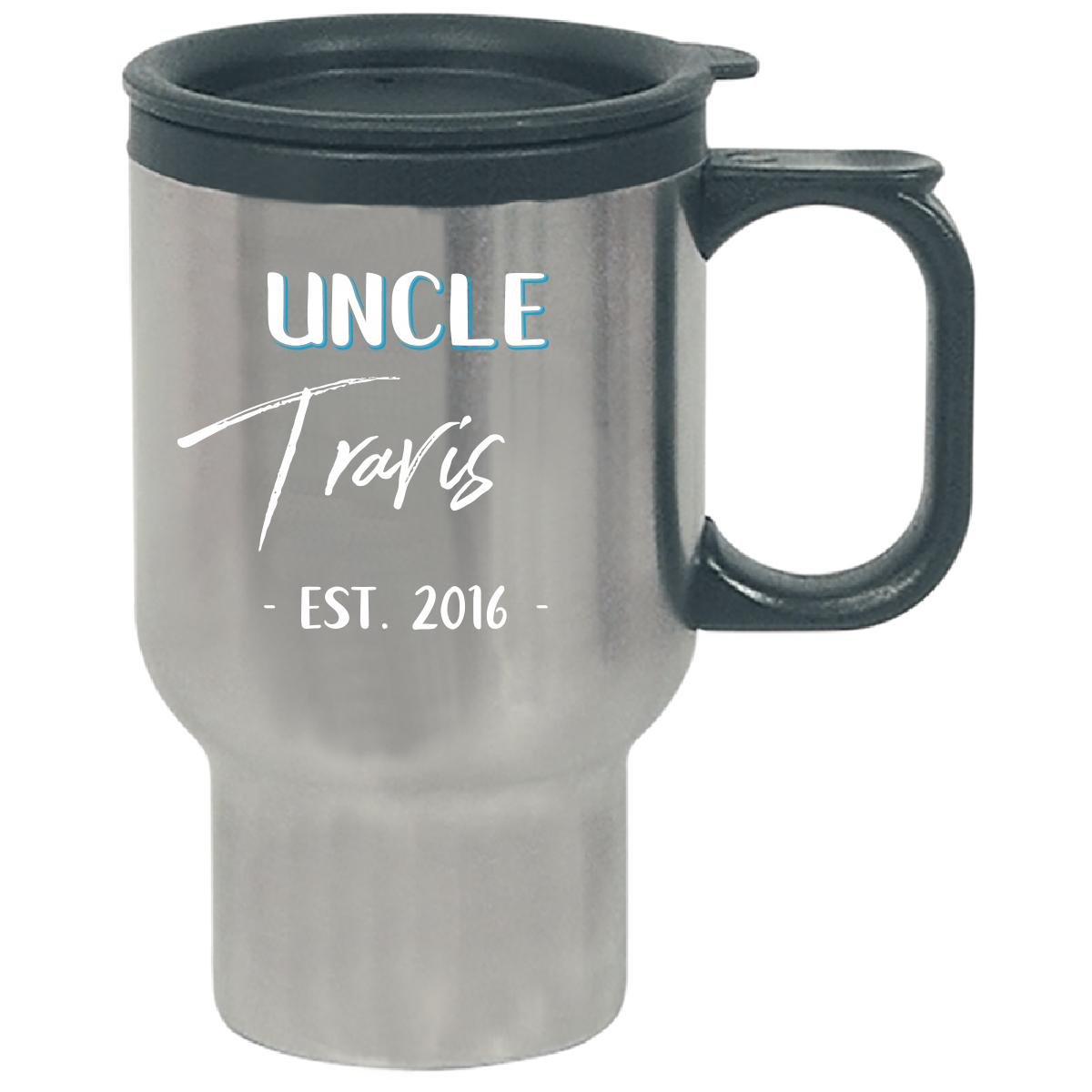 Uncle Travis Est. 2016 New Baby Gift Announcement - Travel Mug