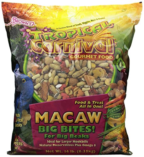 F.M. Brown's Tropical Carnival Gourmet Macaw Food Big Bites for Big Beaks, Vitamin-Nutrient Fortified Daily Diet with Probiotics for Digestive Health, 14lb by F.M. Brown's