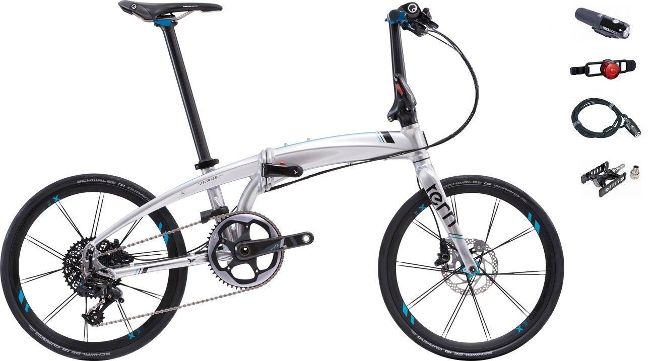 2017年モデル Tern【ターン】 Verge X11 20インチ折り畳み自転車 +フロントライト、テールライト、ロングワイヤー錠、着脱ペダル B01M5JY5J5クローム/ブラック
