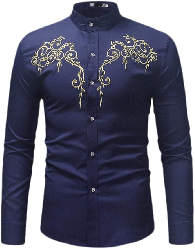 Wofupowga Men Long Sleeve Lapel Slim Fit Embroidery Button Down Shirts