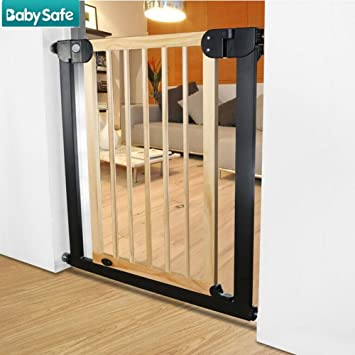 Amazon Com Wooden Baby Gate With Pet Door Extra Wide And Tall