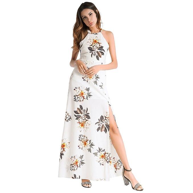 Split chaleco largo vestido Halter sin mangas vestido de Chiffon correa,blanca,XXL/