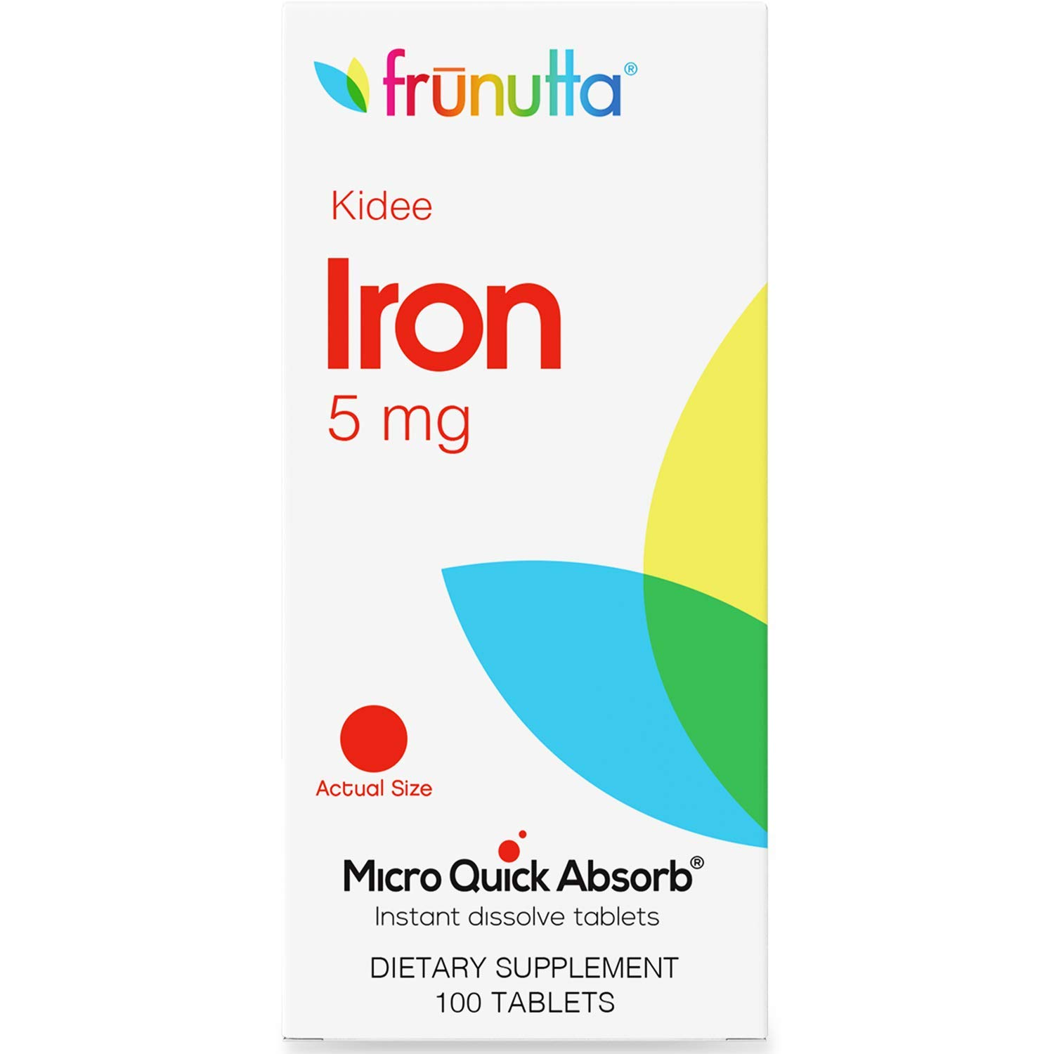 Frunutta Kidee Iron Under The Tongue Instant Dissolve Tablets for Kids - 5 mg x 100 Tablets for Children - Made in USA - Non-GMO, Gluten Free and No Additives