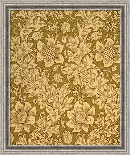 Canvas Art Framed ''Fritillary' Wallpaper Design, 1885' by William Morris: Outer Size 23 x 27
