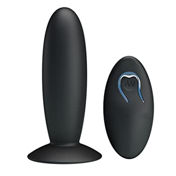 Remote Control Silicone Anal Vibrator Black Suction Cup USB Rechargeable  Anal Plu-g Vibrator Sex