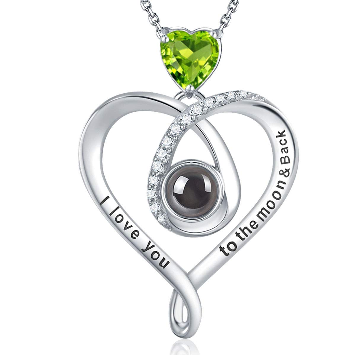 GinoMay August Birthstone Fine Necklace Gifts Sterling Silver Necklace I Love You to the Moon and Back Engraved Jewellery Green Peridot Half Moon Heart Pendant for Mom Wife Daughter Girls