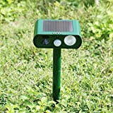 Kangsanli Solar Powered Ultrasonic Animal Repeller Outdoor Pest Control PIR Sensor Scare Cat Dog Deer Rabbit Squirrel and Other Unwanted Animals Away