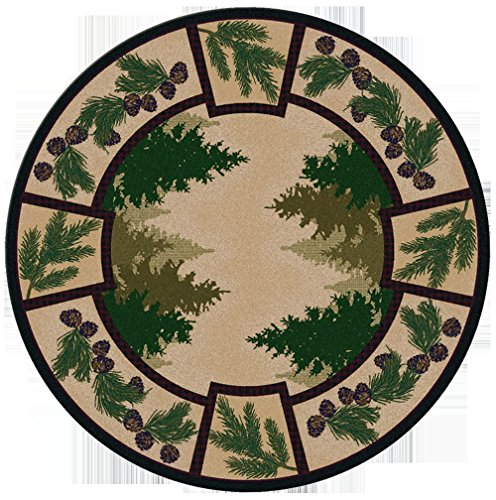 KENSINGTON ROW LAKE AND LODGE COLLECTION AREA RUGS -PINE RIDGE PINECONE RUG - 8' ROUND RUG - LODGE DECOR - TREES - PINE - 8' Round Pinecone Area Rug